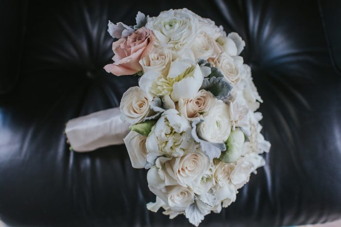 Blush roses dusty miller bridal bouquet classic traditional bride wedding