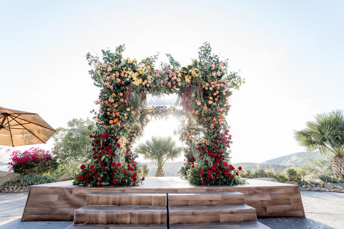 Ombre Chuppah bright red coral yellow pink