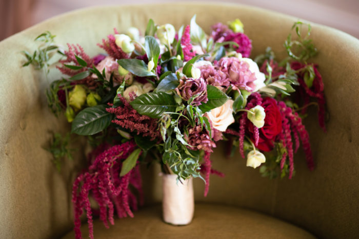 Amaranthus burgundy bohemian textured pinnk red green bridal bouquet