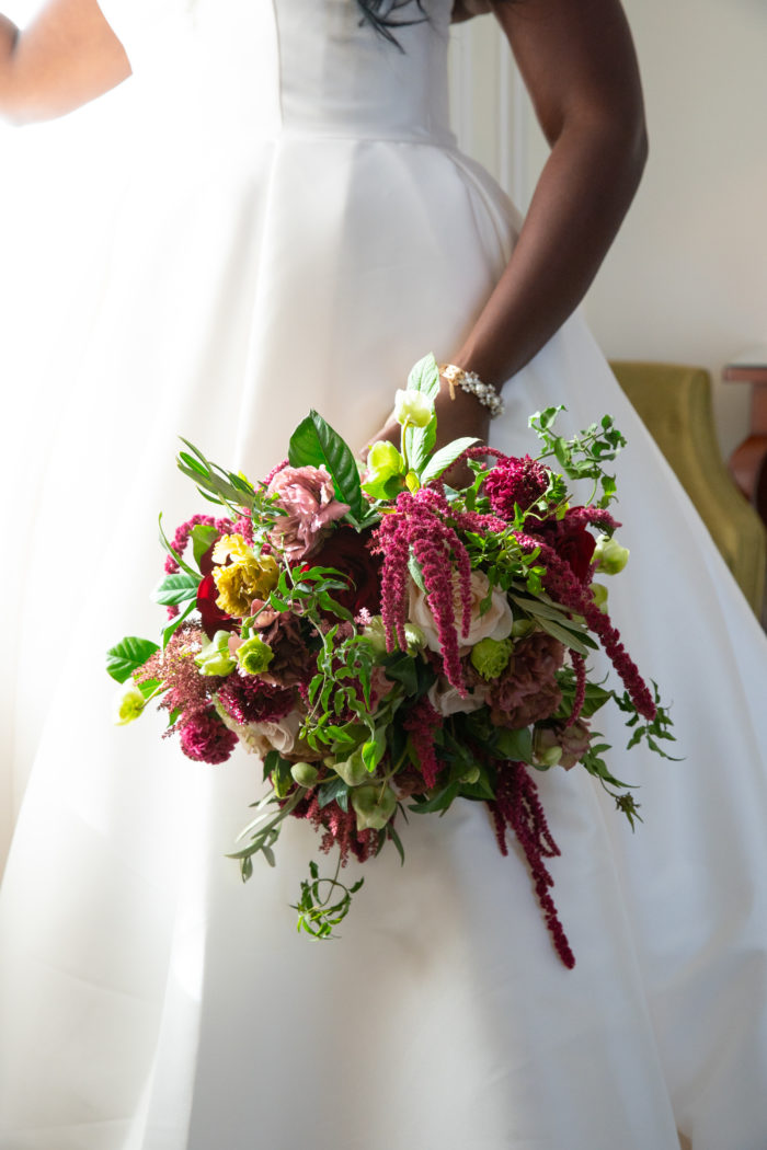 Amaranthus Assymetrical bohemian bridal bouquet greenery blush pink roses