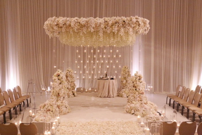Chuppah acrylic hanging orchids candle backdrop luxury wedding persian wedding bellagio wedding ballroom  ceremony