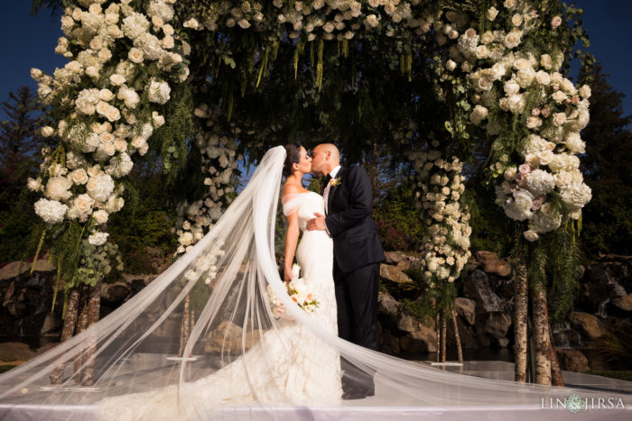 Four seasons westlake village waterfall ceremony greenery white chuppah  lin and jirsa photography