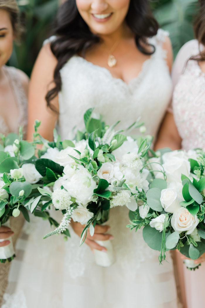 blush bridesmaid gowns white green rustic bouquets best wedding bouquets malibu wedding