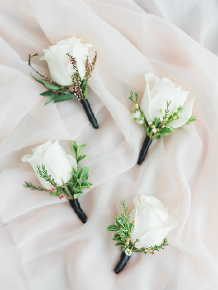 rose boutoniere rustic white roses wax flower greenery best rustic boutonieres malibu wedding butterfly floral and event design