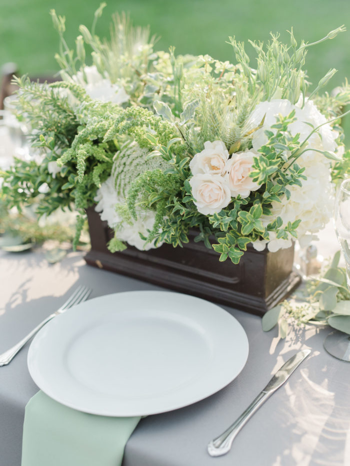 mint green napkins gray linens queen anns lace hydrangea lisianthus veronica roses centerpiece wedding best rustic wedding design decor butterfly floral