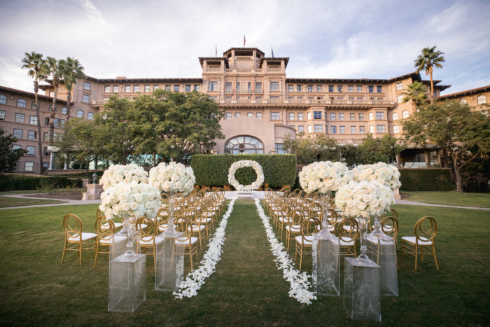 Ceremony Space Langham Pasadena with Floral Pillars