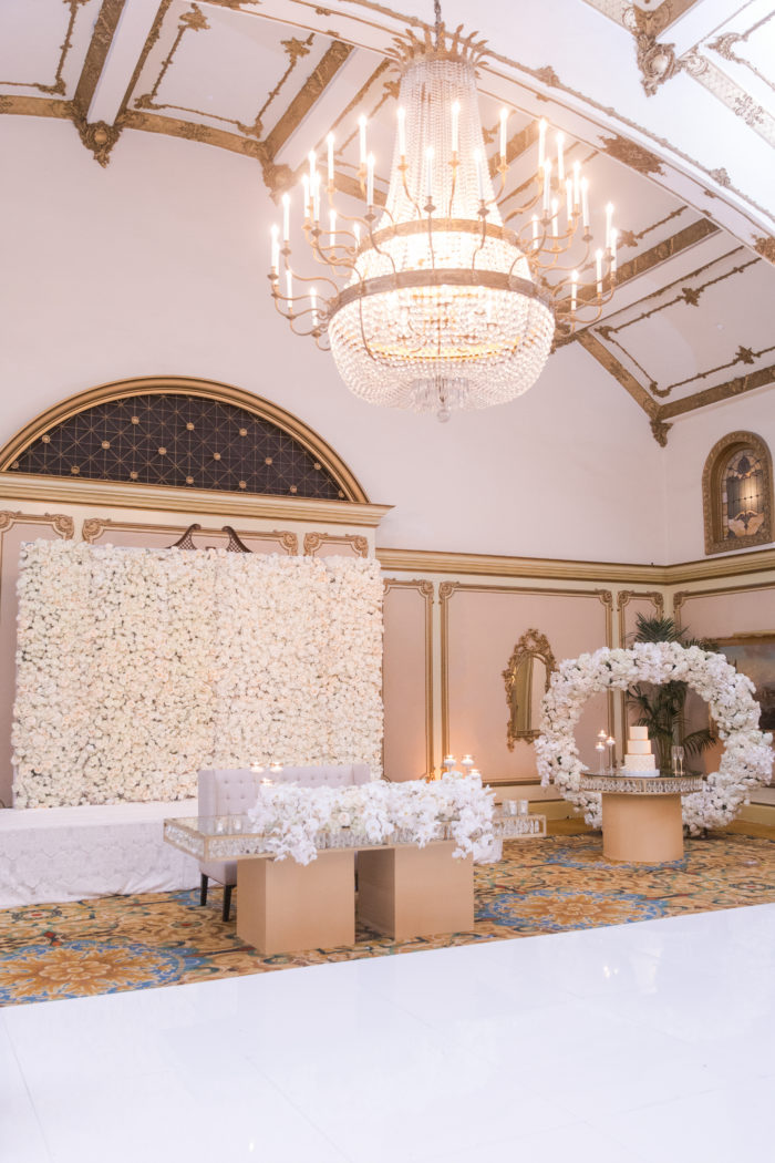 Ivory Flower Backdrop with Sweetheart Table