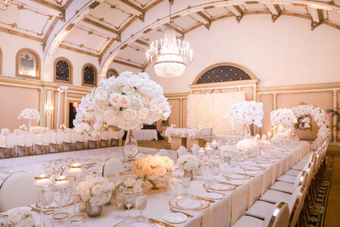 Venetian Ballroom Langham Pasadena with Ivory Flowers