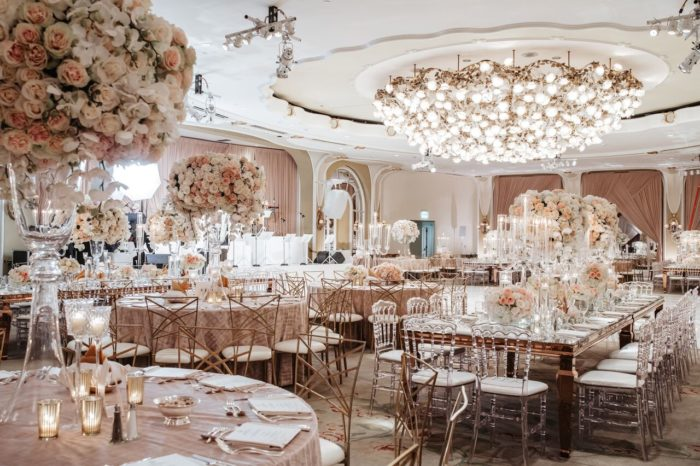 Stunning centerpieces wedding Wide ballroom photo crystal ballroom beverly hills hotel pink ivory roses tall centerpieces