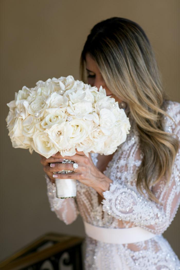 White bouquet roses crystals best white wedding bouquet