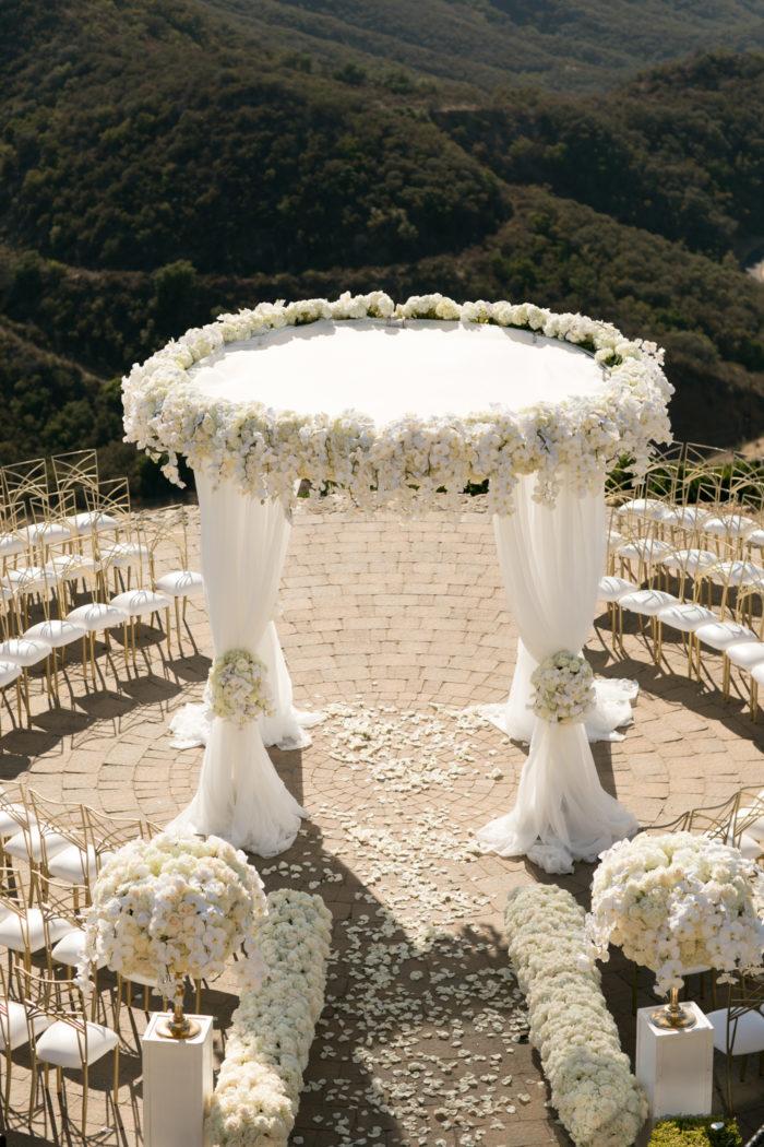 White Hydrangea orchids large round chuppah malibu rocky oaks best wedding chuppahs butterfly floral design
