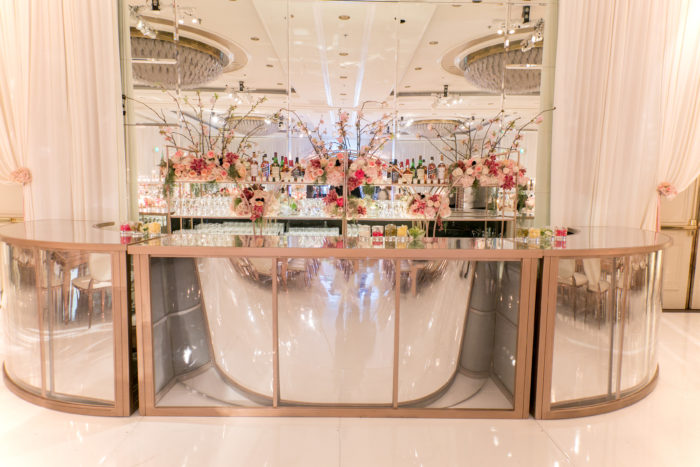 rental bar gold mirrored wedding reception four seasons los angeles