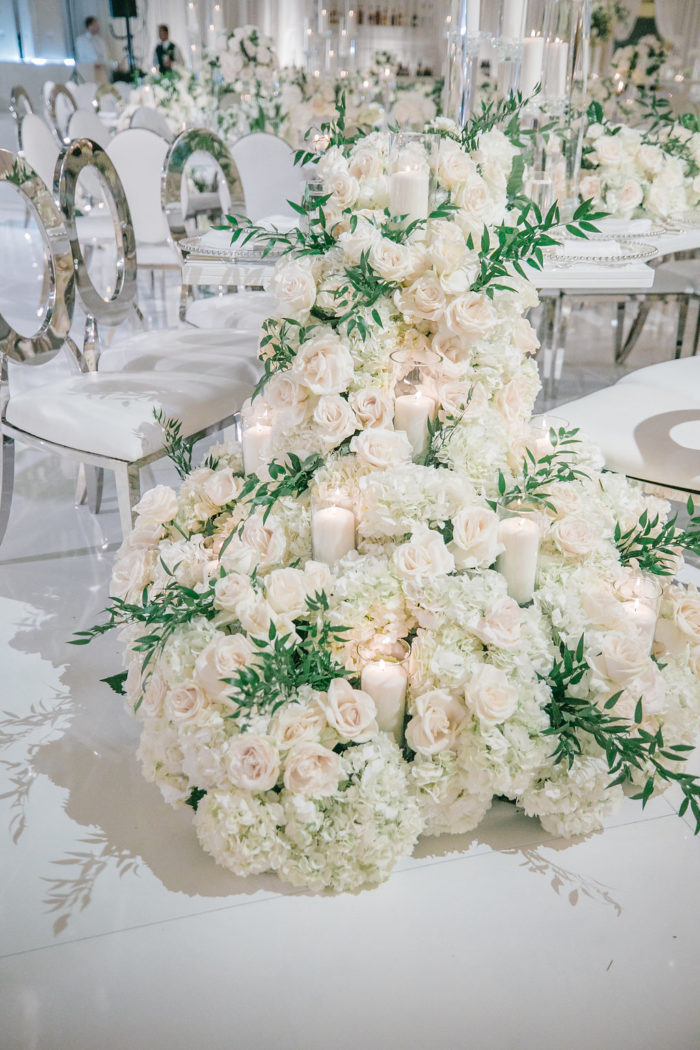 cascading floral runner wedding sweetheart table best floral runner ideas wedding inspo design hotel ballroom