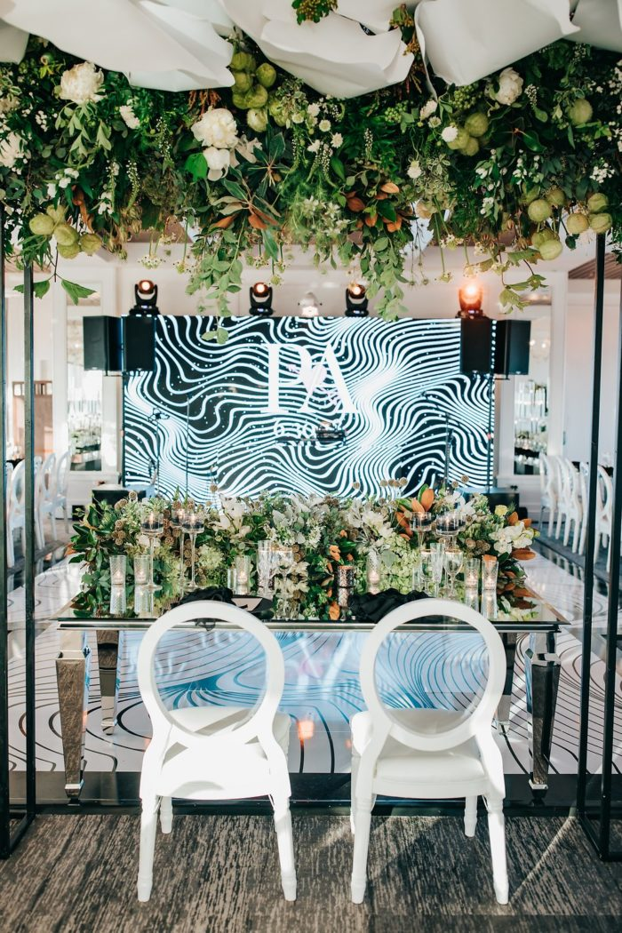 Mr Cs wedding hanging greenery rustic sweetheart table mirror table wedding inspiration 10 best sweetheart table ideas