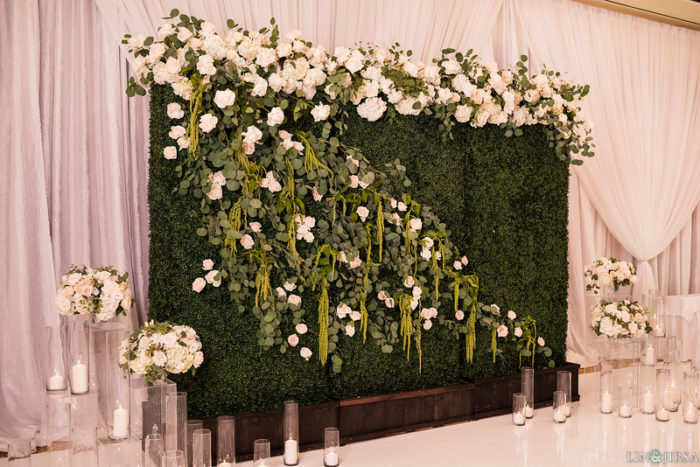 white greenery florals hedges backdrop wedding four seasons westlake village ballroom
