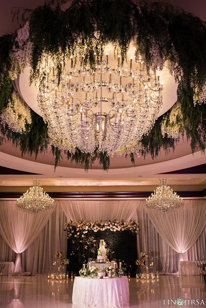 Greenery chandelier wedding four seasons westlake village ballroom best wedding reception decor