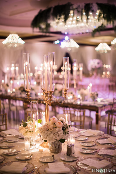 gold candelabra centerpiece ballroom wedding decor