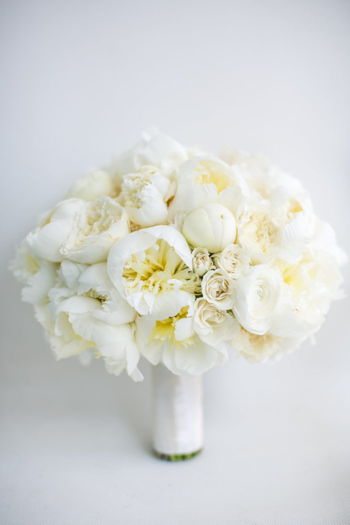 White Bridal Bouquet with white peonies ivory roses