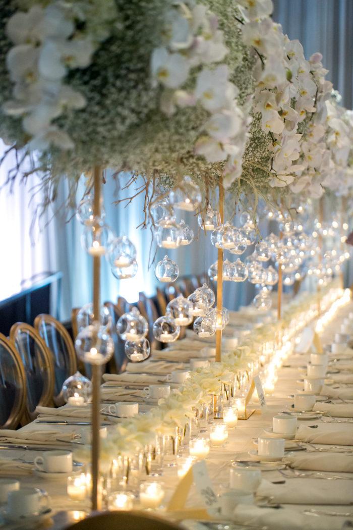 Hanging Glass candles from Babys Breath Bridge wedding Centerpiece