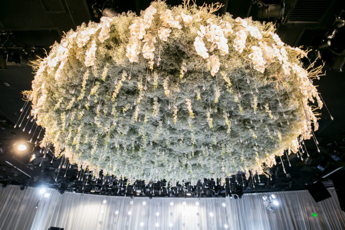 Hanging Overhead Florals in Babys Breath and Orchids
