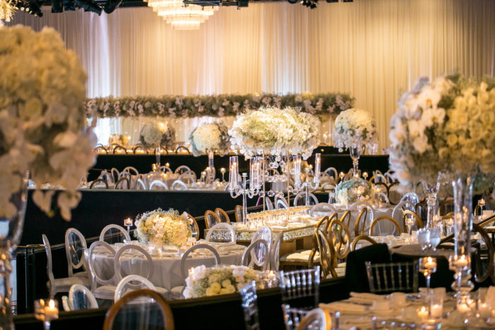 White Babys Breath and Rose Tall Centerpieces at Beverly Hilton Wedding