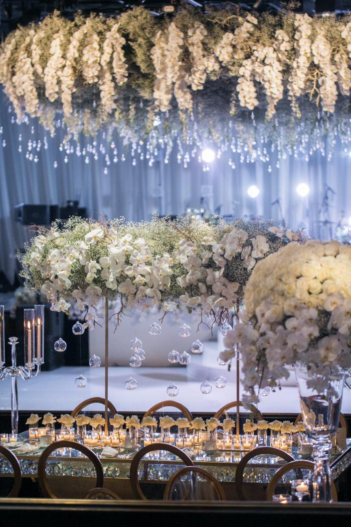 Babys Breath Bridge Centerpiece at Beverly Hilton Wedding