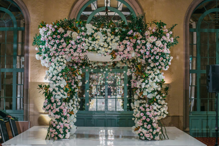 Large Pink and Ivory Rose  Wedding Chuppah with Greenery