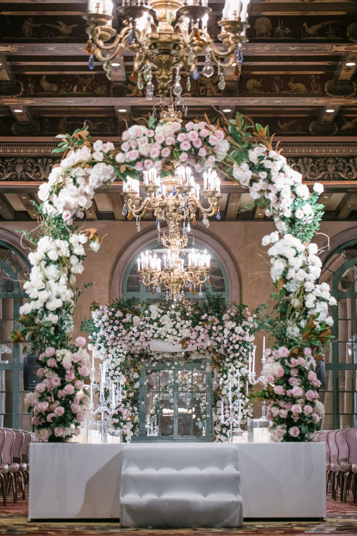 Pink and White Rose Wedding Arch with Greenery