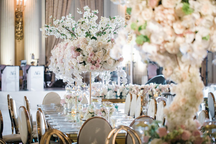Tall Wedding Centerpieces with Cherry Blossoms and Ivory Flowrs