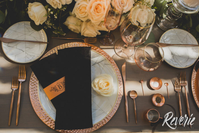 Rose Gold table setting with salt and pepper service and Marble Plates