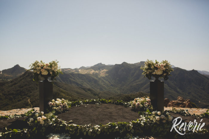 Round floral runner at Malibu Rocky Oaks Wedding Ceremony