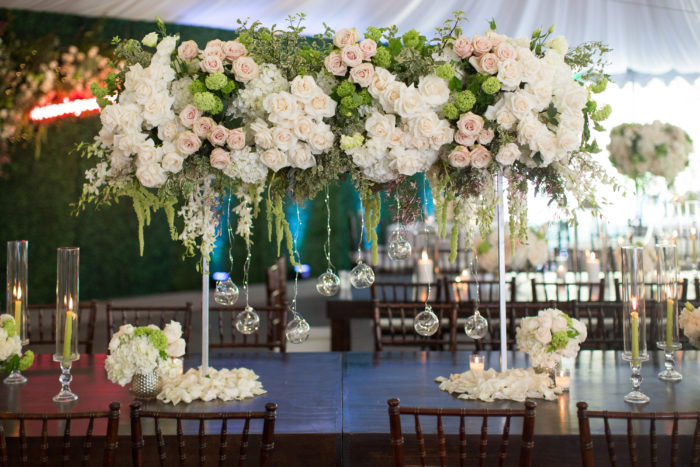 Large rustic rose floral arrangement at Calamigos ranch Wedding