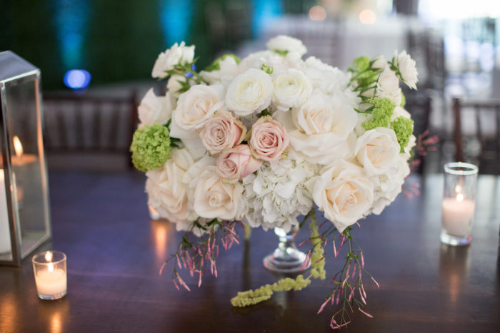 Compote Floral Arrangement with Blush and Ivory Roses and Greenery