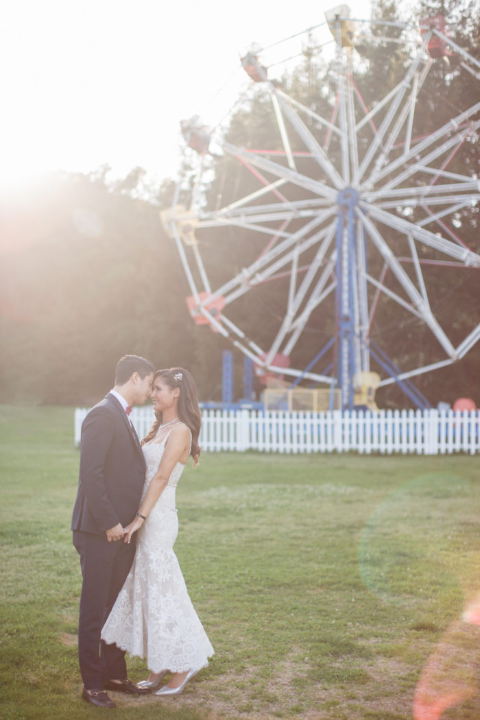 Engagement Photo at Calamigos Ranch Ferris Wheel