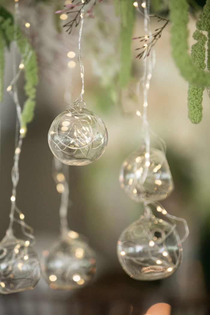 Wedding Decor Hanging Glass Orbs with Fairy Lights