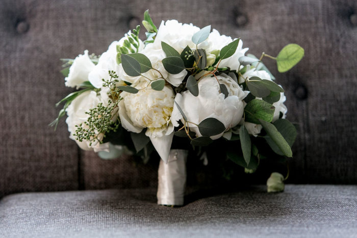 White Peony Rose and Greenery Bridal Bouquets