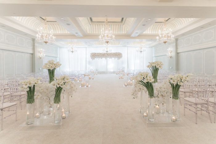 Collection of White Callas at Wedding Ceremony Aisle