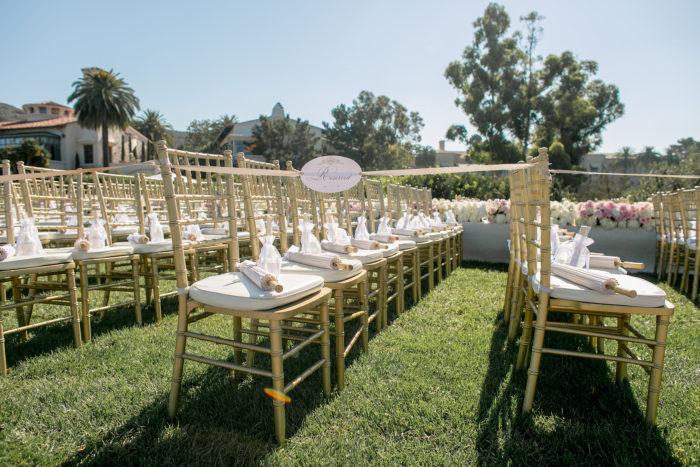 Pelican Hill Wedding Gold Chiavari Chairs