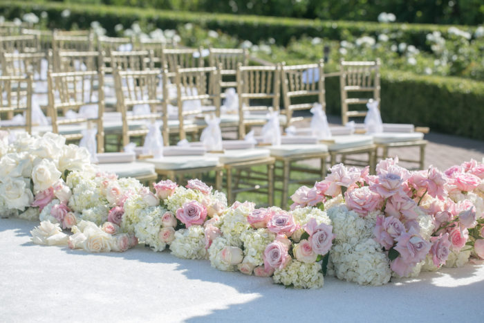 Floral Runner on Ceremony Aisle with Pink Flowers