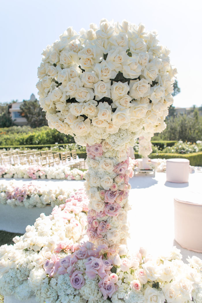 Tall Wedding Floral Arrangement with Pink and White Roses