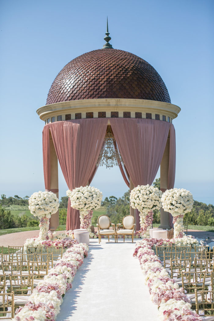 Gazebo with Floral Urns at Pelican Hill