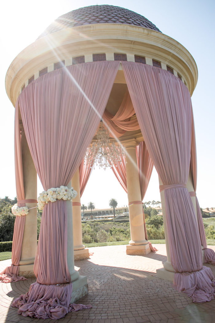 Gazebo with Pink Drapery at Pelican Hill