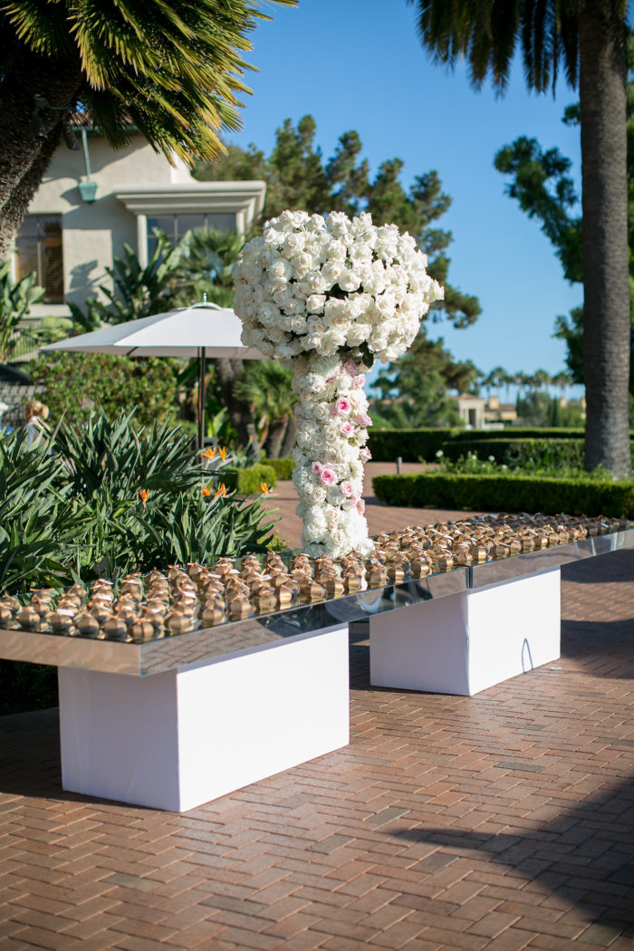 Mirrored Escort Card Table at Pelican Hill Wedding