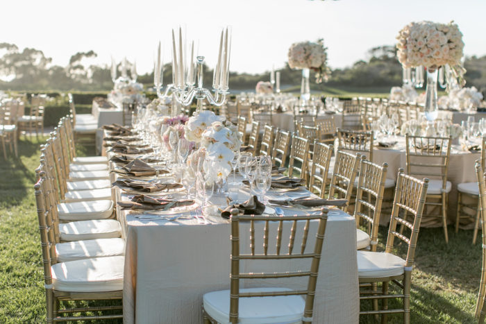 Wedding Long Tables with Gold Chiavaris at Pelican Hill