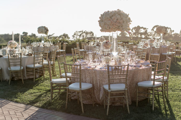 Round Tables with Sequin Linens and Tall Centerpieces at Pelican Hill