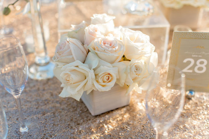 Small Floral Centerpiece with Blush and Ivory Roses