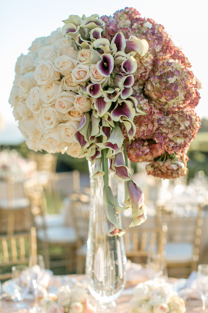 Ivory and Burgundy tall Centerpiece with Callas and Hydrangeas