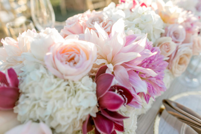Wedding floral table runner with roses and Hydrangeas and Dahlias
