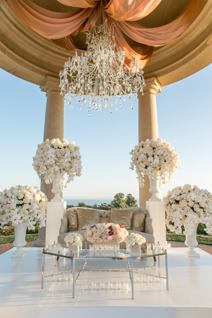 Modern Sweetheart Table with Tall Urn Centerpieces