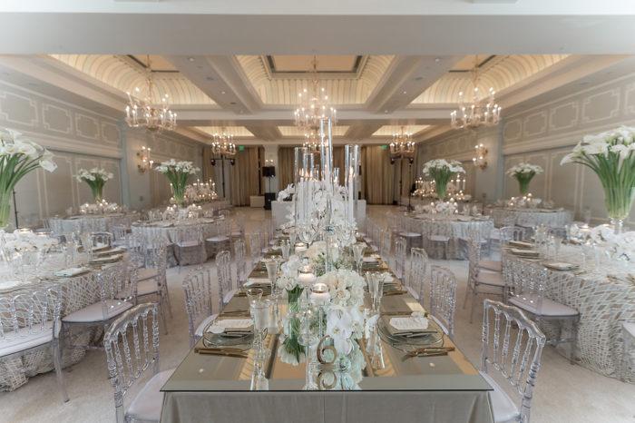 Casa Del Mar Wedding Reception with all white carpet